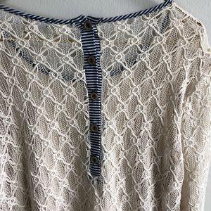 Tops - SOLD! BKE Crochet Knit Blouse w/Fringe Hem.